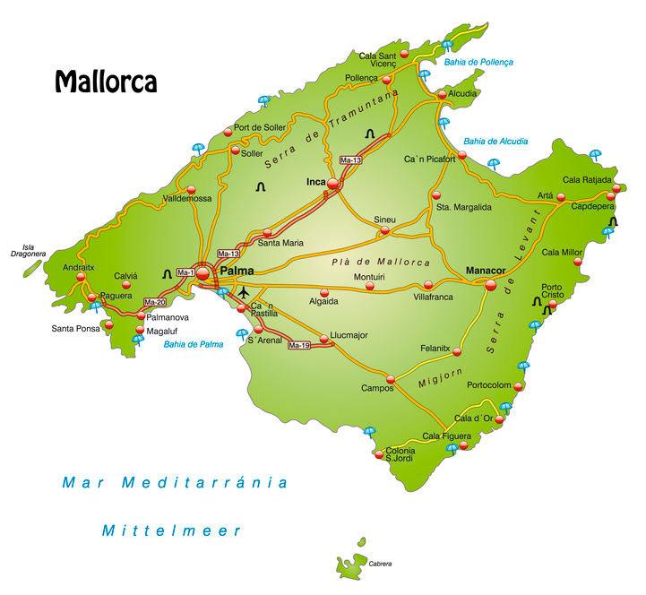 Mallorca kort med indfaldveje til de større byer og populære strande