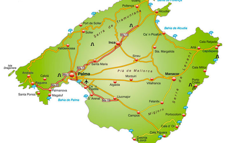 Kort over Mallorca med indfaldsveje til de større byer
