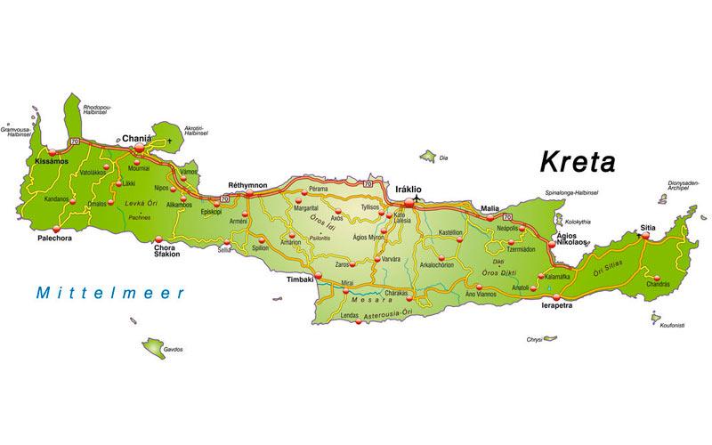 Kort over Kreta