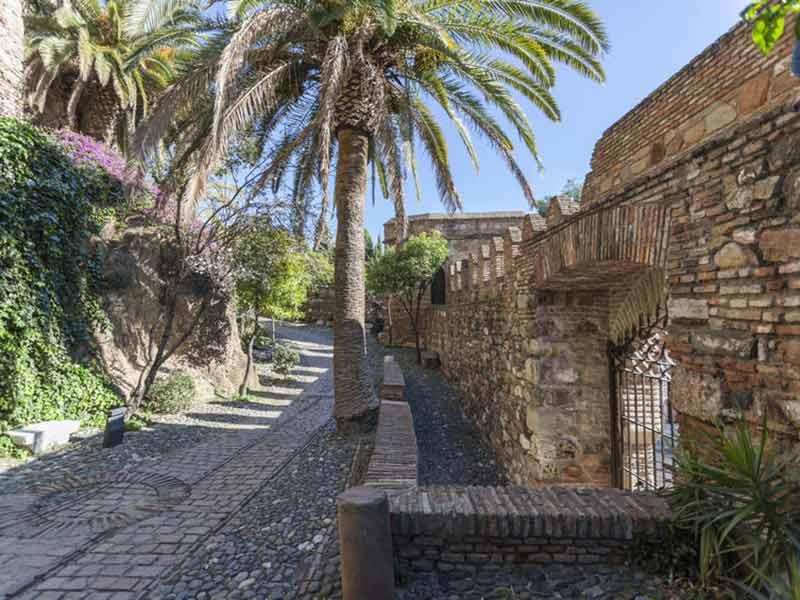 Historisk monument, La Alcazaba, befæstning. Malaga, Spanien