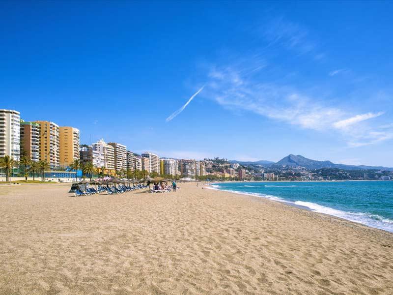 Malagueta-stranden i Malaga, Andalusien, Spanien