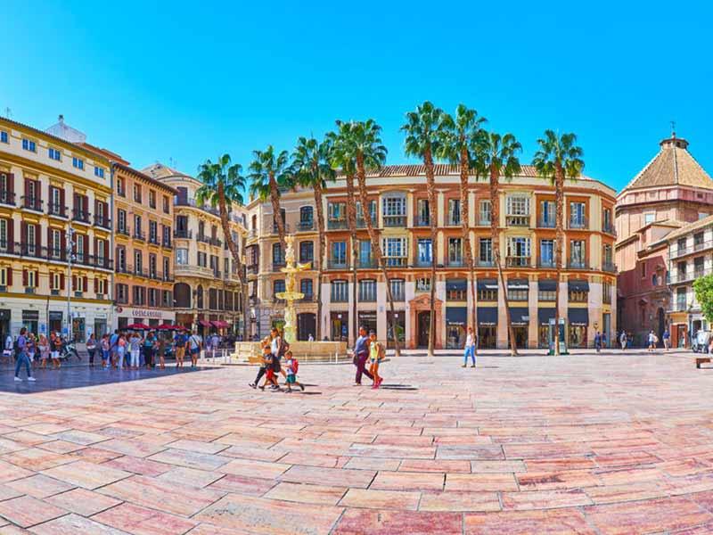 Historisk arkitektur af Constitution Square i Malaga, Spanien